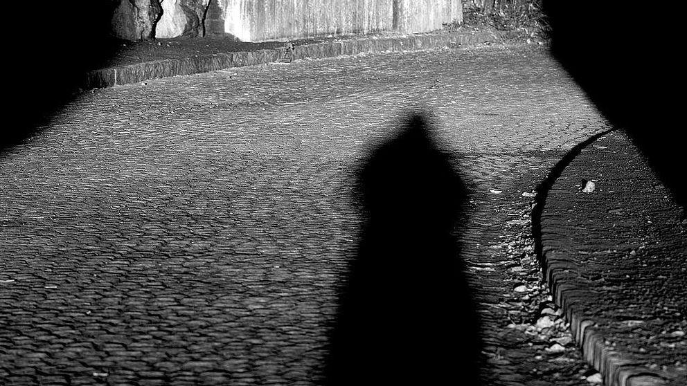 En skugga syns på en kullerstensgata.
