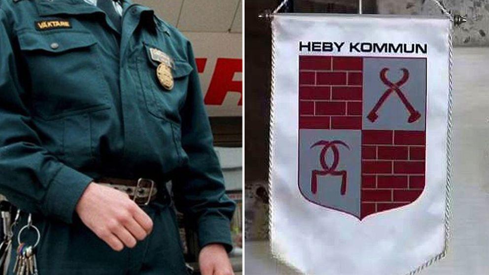 En väktare och en flagga med Heby kommuns vapensköld.