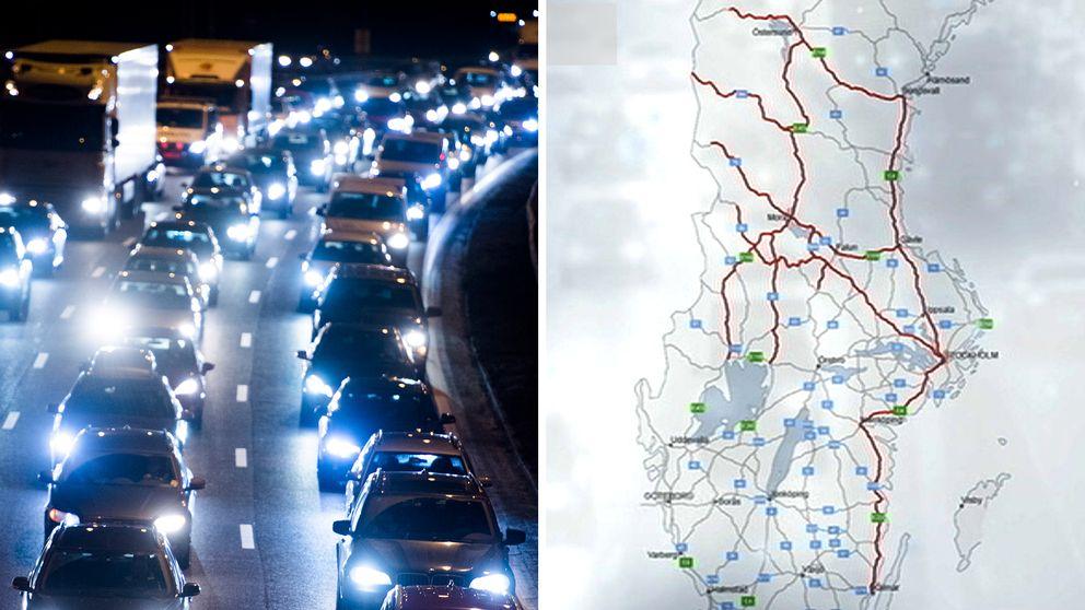 Julhelgens mest trafikerade vägar