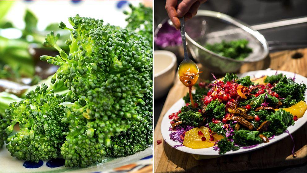 Till vänster broccoli. Till höger en sallad med grönkål och granatäpple.