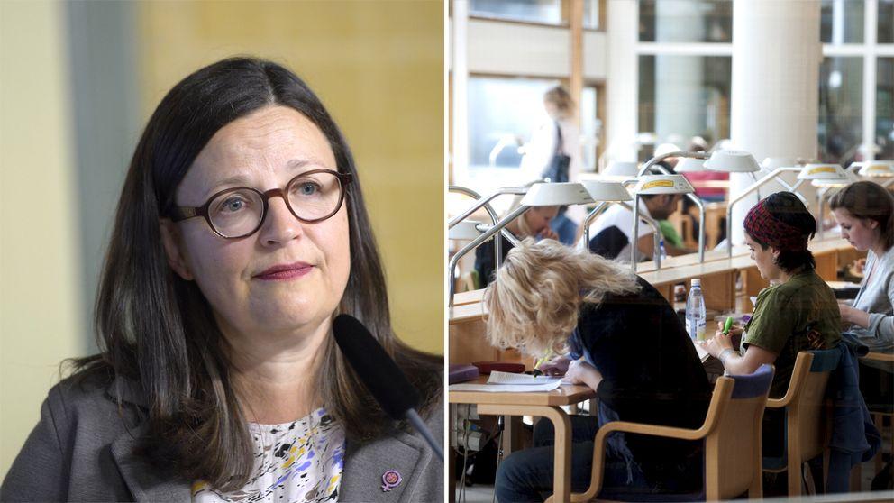 Till vänster Anna Ekström. Till höger studenter i en läsesal.