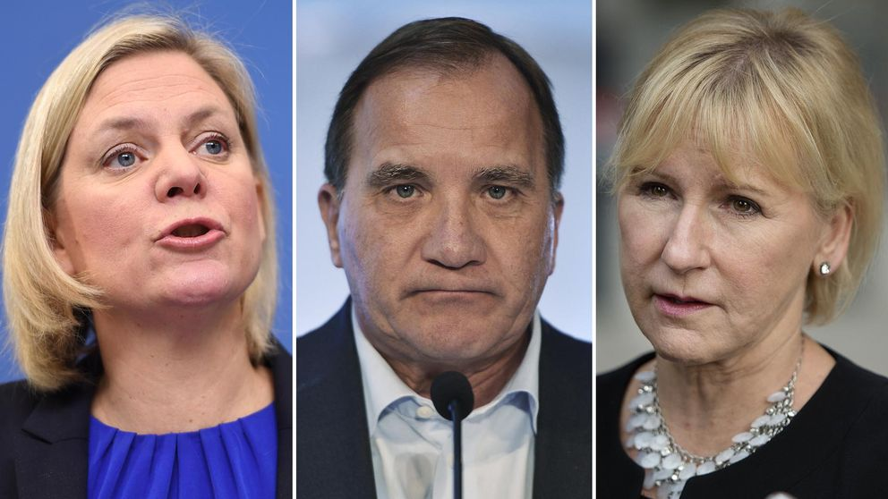 Finansminister Magdalena Andersson (S), statsminister Stefan Löfven (S) och utrikesminister Margot Wallström (S).