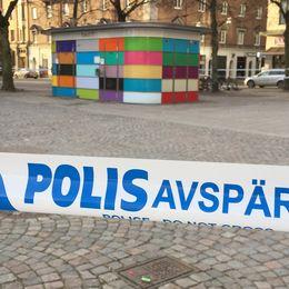 Polisavspärrning på Järntorget i Örebro.