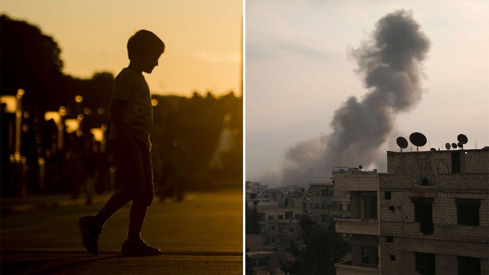 Till vänster: Arkivbild på barn (som inte har något med artikeln att göra). Till höger: En bild från Ghouta i Syrien.