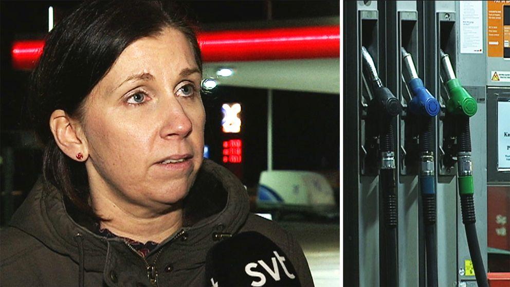 Karin Claesson blev överraskad när hon såg sitt konto efter att hon hade tankat