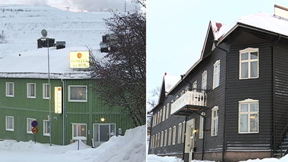 Delad bild med två hotell.