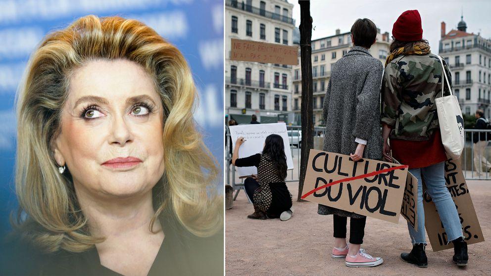 Catherine Deneuve och franska metoo-demonstranter.