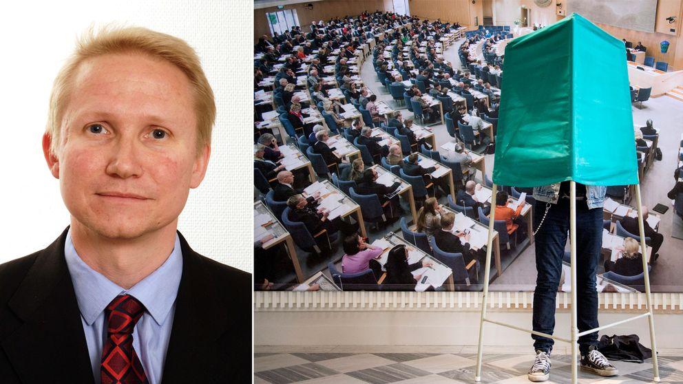 Mikael Tofvesson samt röstning i vallokal