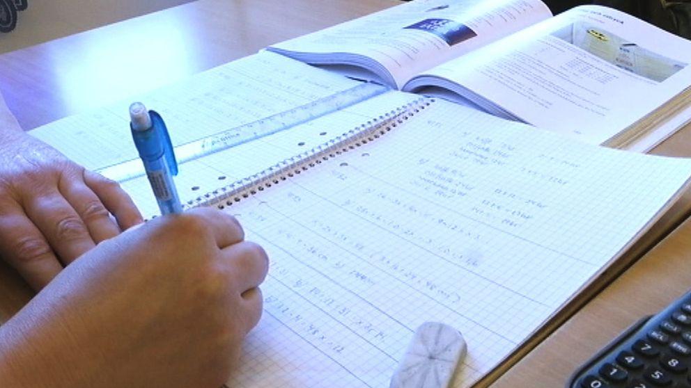 penna, linjal, matte, matematik, skolbänk
