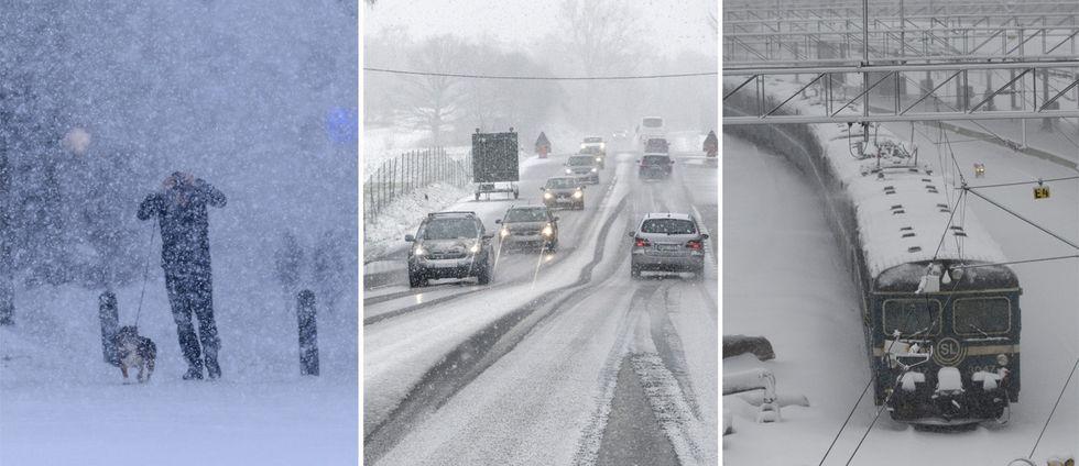 Snön ställer till det i trafiken. Arkivbilder.