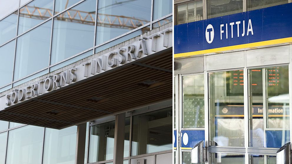 Södertörns tingsrätts entré och Fittjas tunnelbanestation.