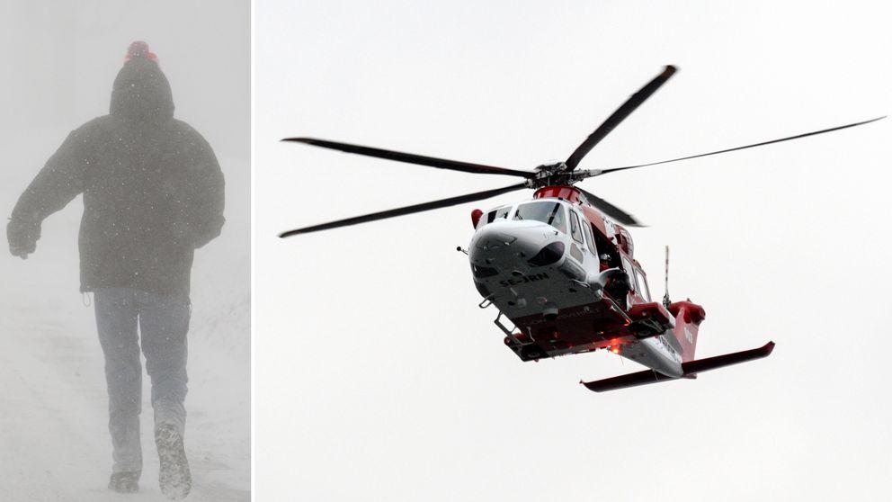 Person ute i snöstorm och sjöräddninghelikopter ute och åker.