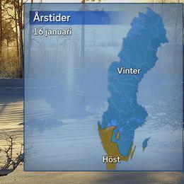 Årstidernas läge efter att temperaturdygnet den 16 januari avslutats. Blått betyder vinter (medeltemperatur under 0 grader) och brunt betyder meteorologisk höst (medeltemperatur 0–10 grader).