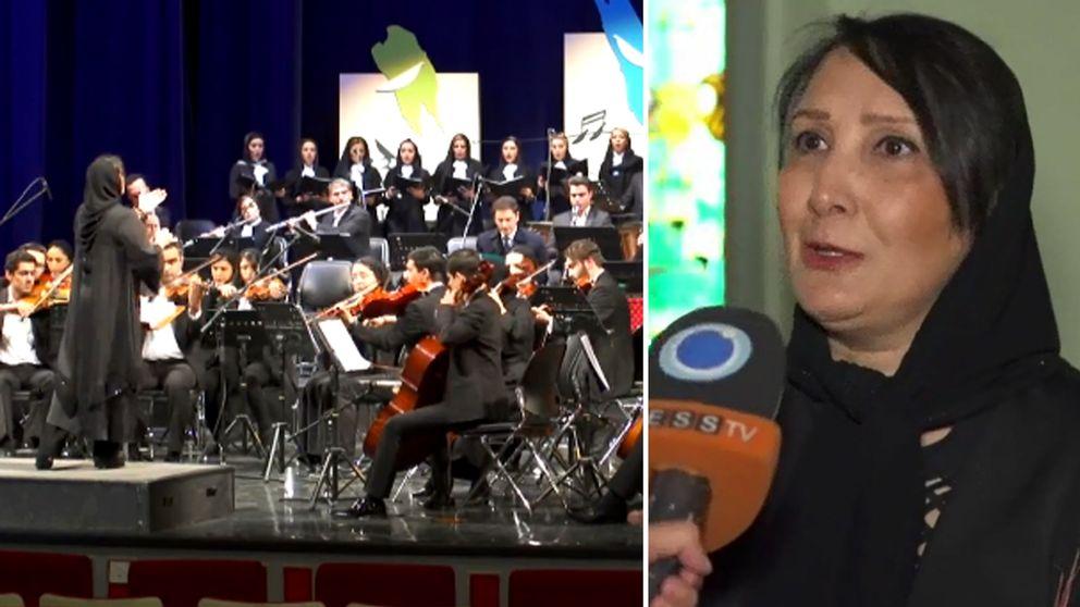 Noz'hat Amiri syns dirigera orkesten på scen. I bild två blir hon intervjuad.