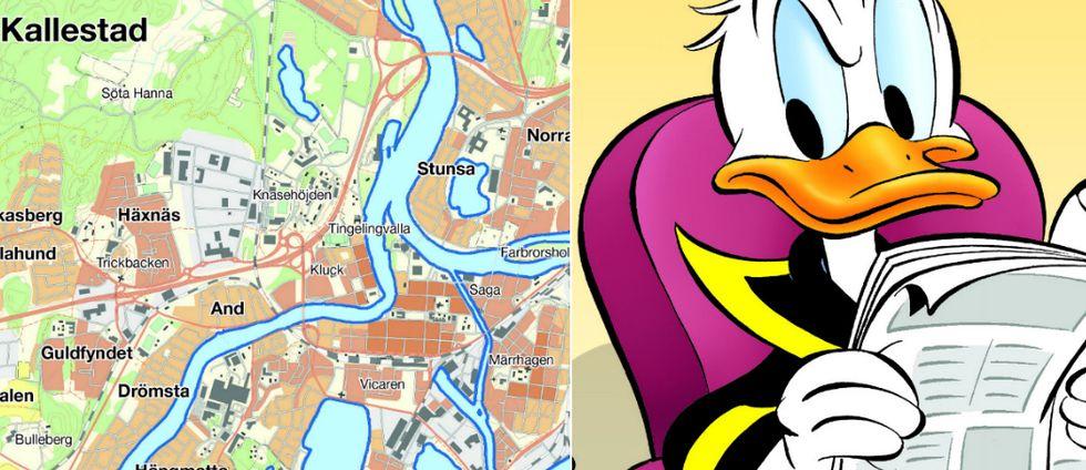 Till vänster syns en karta men olika namn på platser. Till höger syns Kalle Anka läsa en tidning