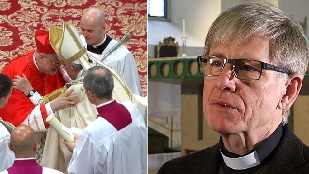 Till vänster syns kardinal Anders Arborelius tillsammans med andra personer ur den katolska kyrkan. Till höger syns Harald Cohén titta snett förbi kameran