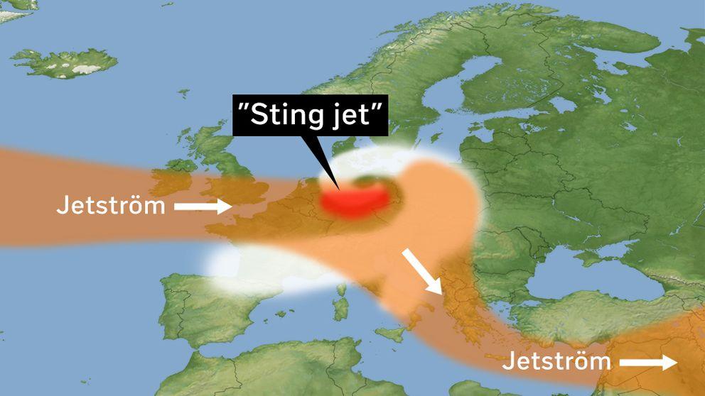 """""""Sting jet"""" till följd av väderläget torsdag 18 januari 2018."""