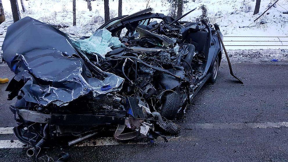 En totalförstörd bil