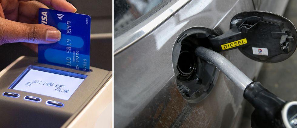 Betalkort i en kortmaskin till vänster. Till höger en bil som tankas med diesel.