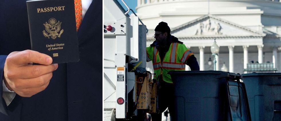 Ett amerikansk pass och en man som hämtar sopor i USA:s huvudstad Washington DC.
