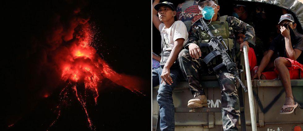 Lava spyr ut ur vulkanen Mayons krater. Människor evakueras.