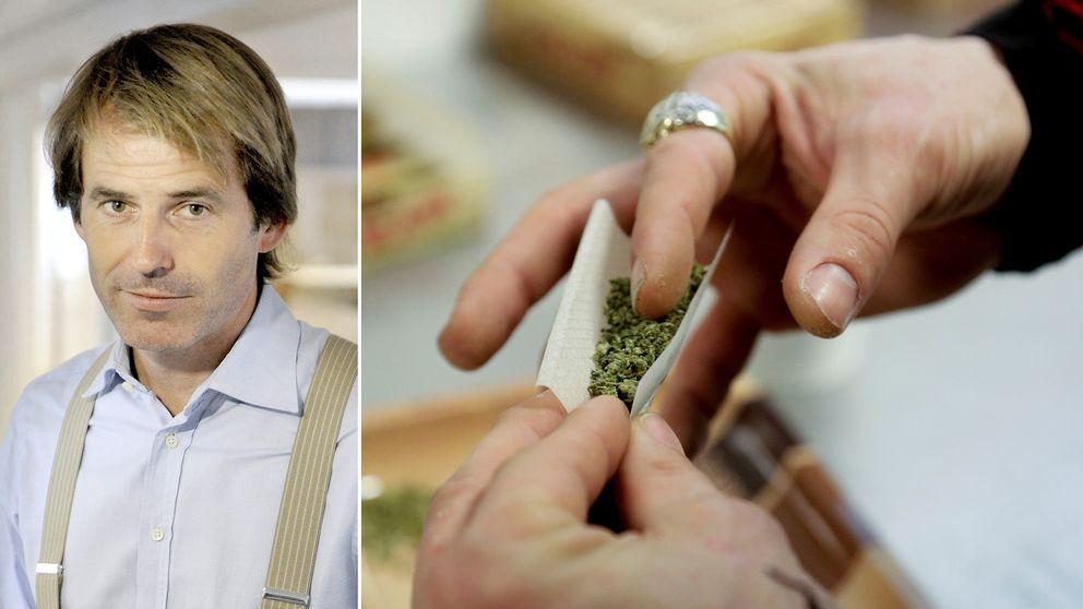 Sparekonomen Claes Hemberg och en bild på cannabis