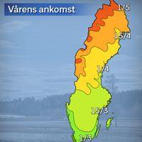 Vårens normala ankomst enligt referensåren 1961-1990