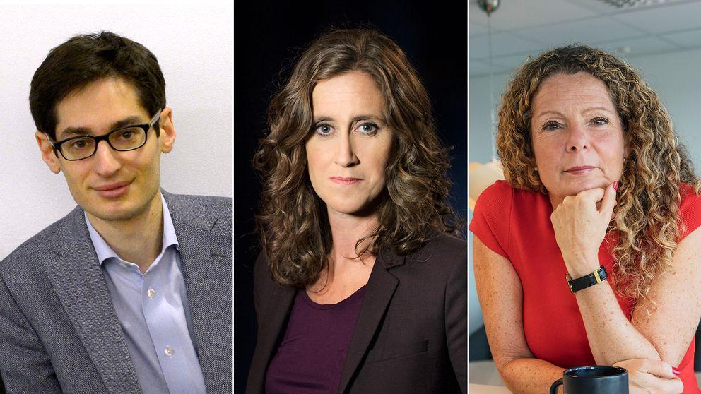 Peter Wolodarski, chefredaktör för Dagens Nyheter, Hanna Stjärne, vd för Sveriges Television och Cilla Benkö, vd för Sveriges Radio.