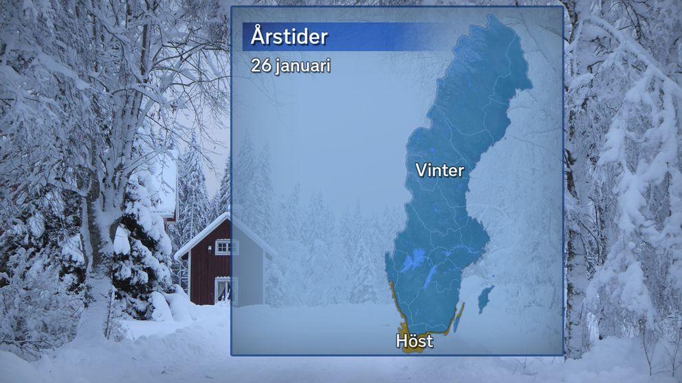 Årstidernas läge efter att temperaturdygnet den 26 januari avslutats. Blått betyder vinter (medeltemperatur under 0 grader) och brunt betyder meteorologisk höst (medeltemperatur 0–10 grader).