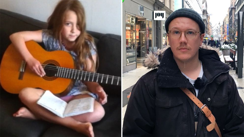 Till vänster Ebba sitter i en soffa och spelar gitarr. Till höger Ebbas lärare i svenska iklädd vinterjacka ståendes på Drottninggatan i Stockholm.