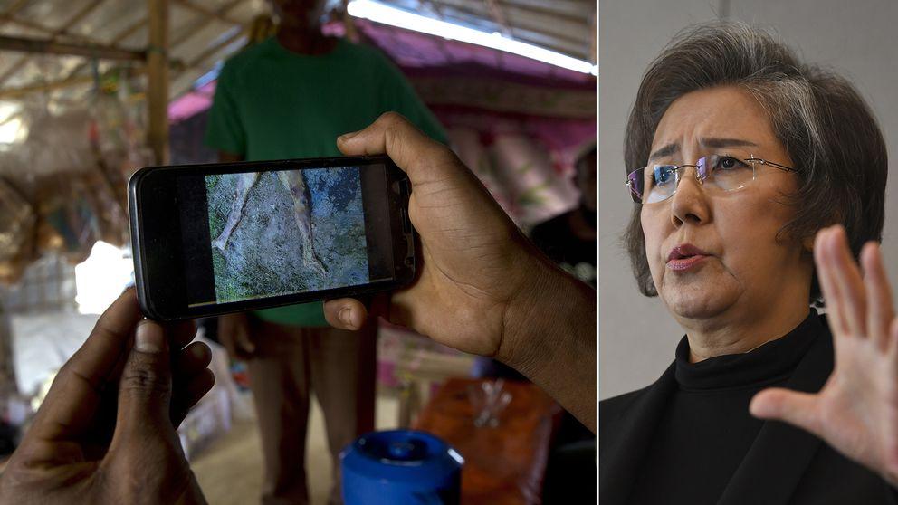 En flykting visar upp ett videoklipp från Gu Dar Pyin för AP:s reportrar i flykinglägret Kutupalong i Bangladesh. Till höger Yanghee Lee, FN:s särskilda sändebud.