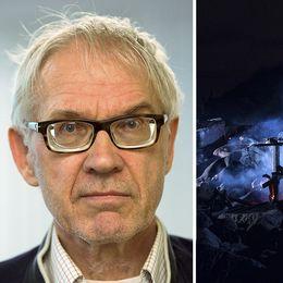 Lars Vilks till vänster. Till höger ett brandhärjat Nimis, glöd och eld på marken nattetid.