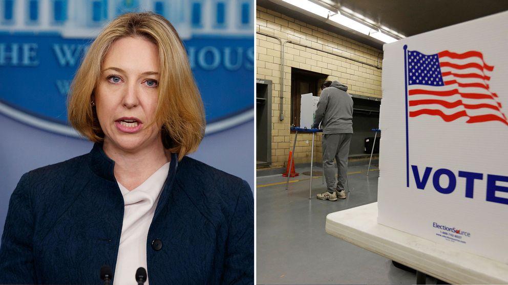 Jeanette Manfra och bild från valdagen i USA, november 2016.