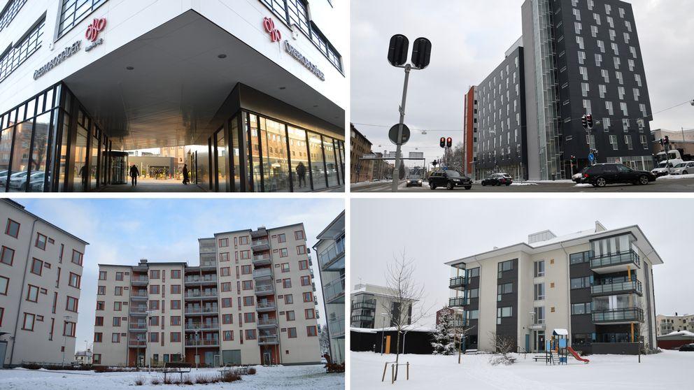 Fyra olika byggnader i Örebro.
