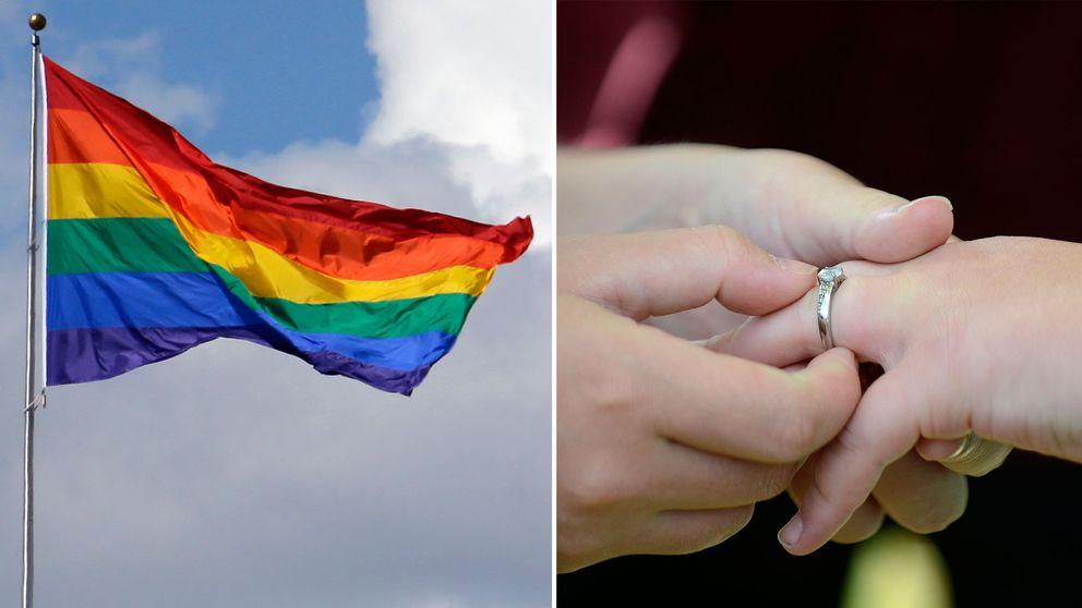 Bild på prideflagga till vänster, bild på händer under vigsel till höger.