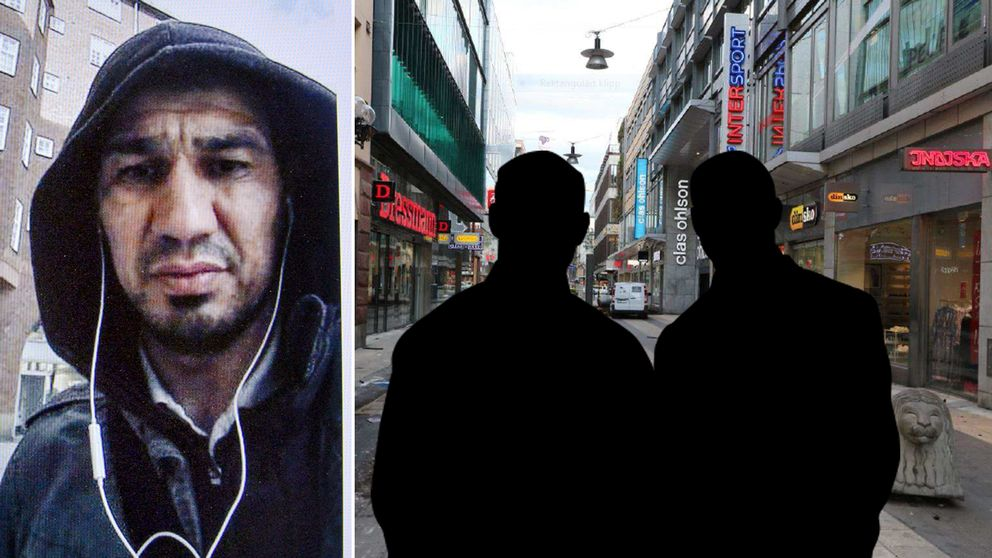 Rakhmat Akilov och siluetter av två män på en bild från Drottninggatan.