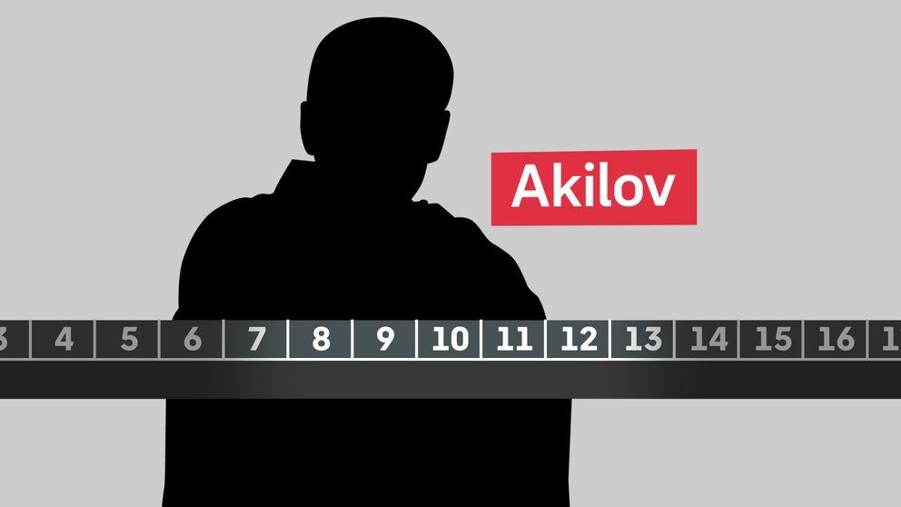 Siluett av Rakhmat Akilov bakom tidslinje.