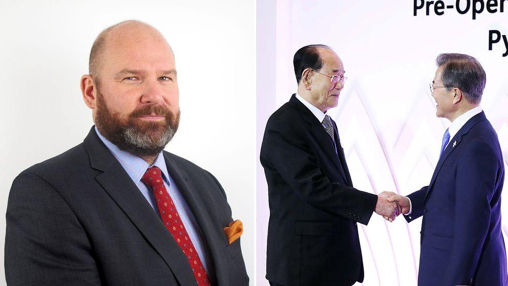 Vänster: Niklas Swanström, chef för Institutet för säkerhets- och utvecklingspolitik. Höger: Kim Yong-nam, ordförande för Nordkoreas högsta folkförsamling, skakar hand med Sydkoreas president Moon Jae-in i Pyeongchang.