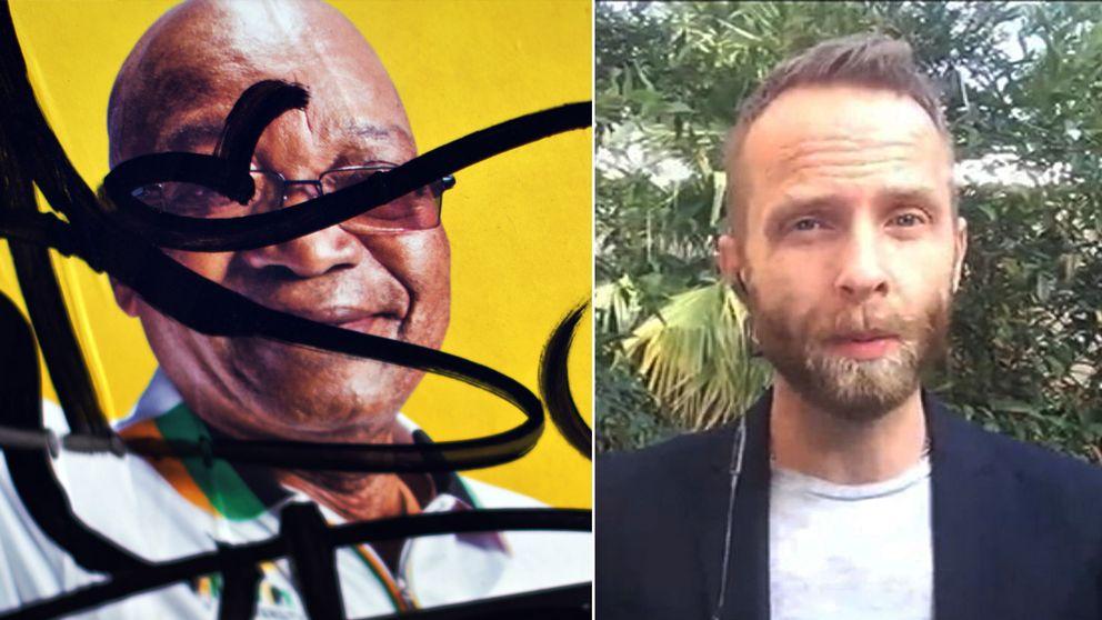 En sönderklottrad affisch av Jacob Zuma samt Johan Ripås