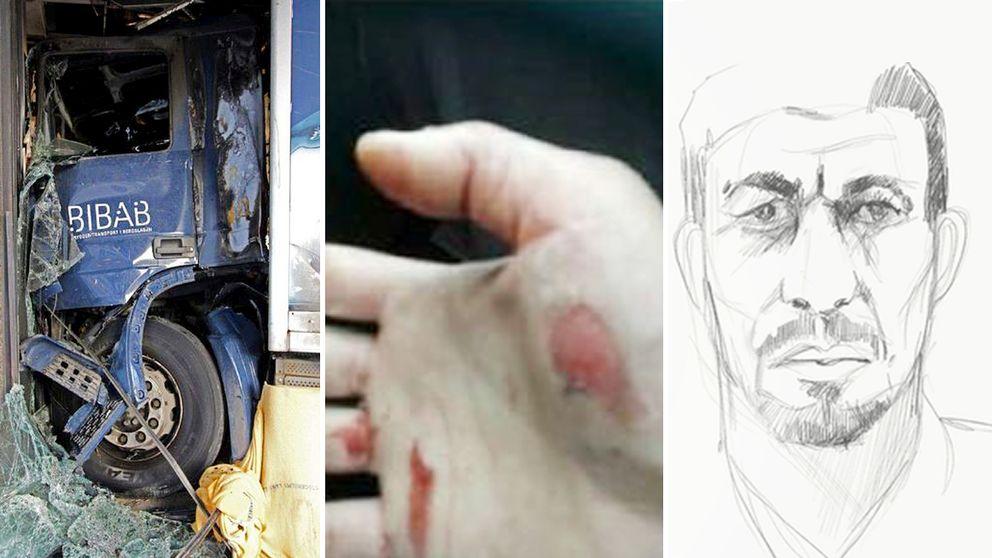 Bilder (till vänster) som presenterades under åklagarens sakframställan i rättegången mot Rakhmat Akilov – tecknad till höger.
