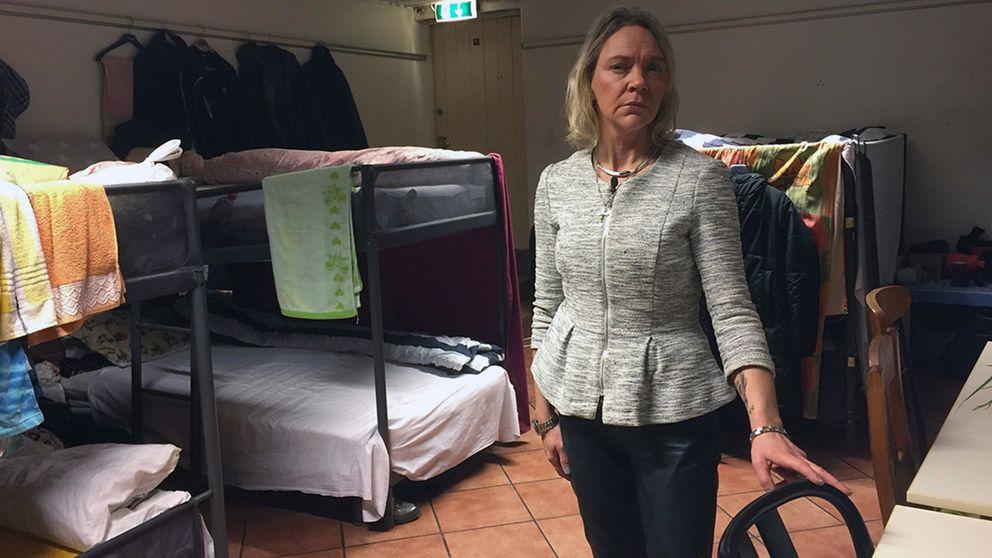 Madelaine J Wahlström, operativt ansvarig för härbärget i lokalen på Smålands nation.