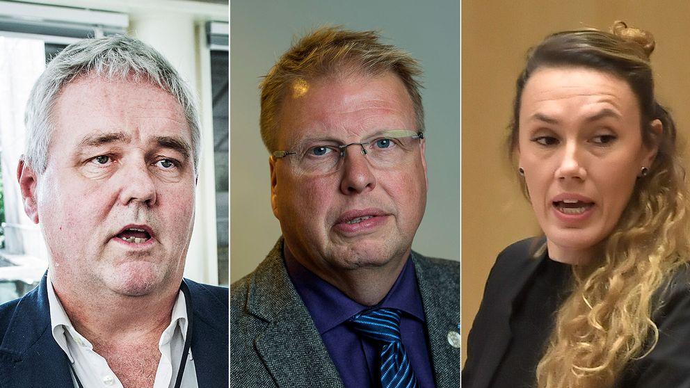 Politikerna Anders W Jonsson (C), Bengt Eliasson (L) och Maj Karlsson (V).