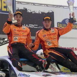kartläsare Johan Johansson och Dennis Rådström, vinnare av Svenska rallyt Junior WRC