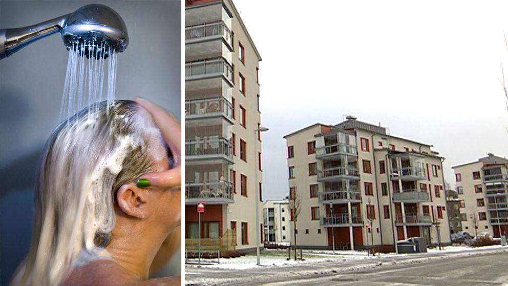 Delad bild. Huvud duschar bort schampo och ett lägenhetshus