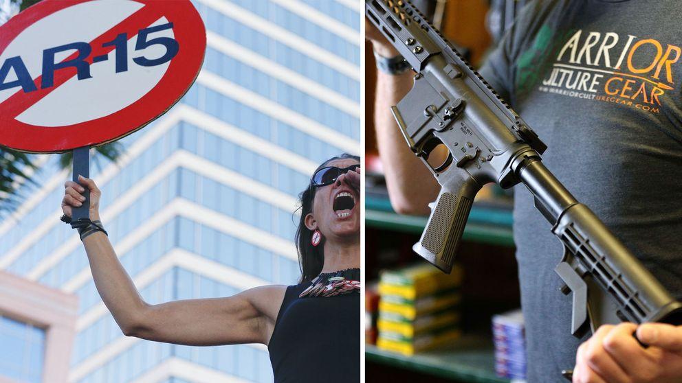 Kvinna protesterar mot AR-15, man håller i en AR-15