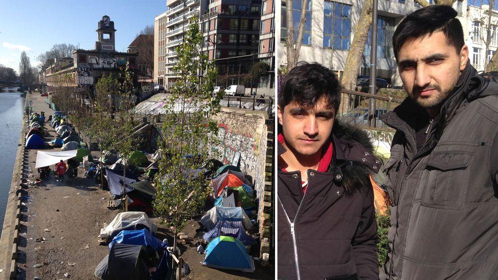 Tält med flyktingar i Paris, Faisal Momand till höger.