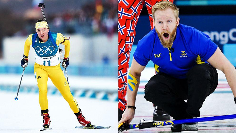 Till vänster syns Linn Persson åka skidor. Till höger sitter Niklas Edin på huk med ett ansiktsuttryck som ser ut som att han skriker