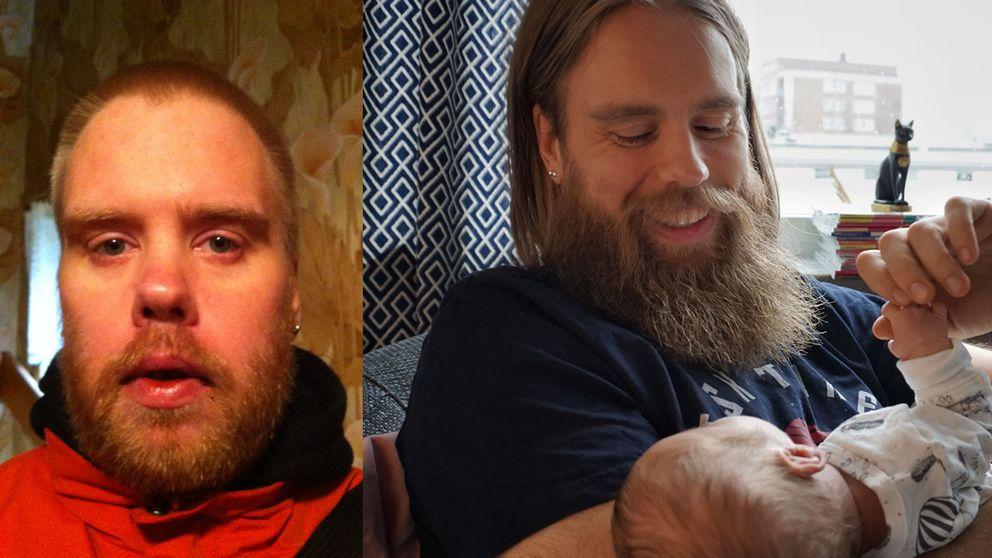 William när han mådde som sämst, och i dag med nyfödda sonen Wille.