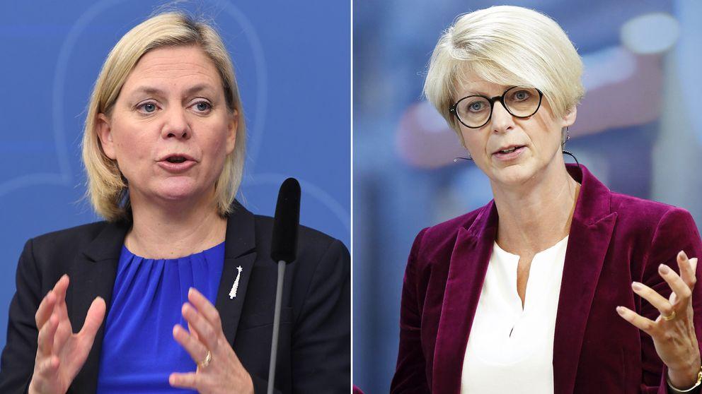 Finansminister Magdalena Andersson (S) och Moderaternas Elisabeth Svantesson.