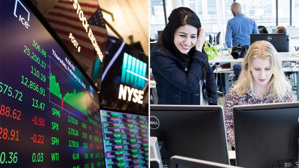 Till vänster aktieindex på flera skärmar. Till höger två kvinnor sitter framför två datorskärmar.